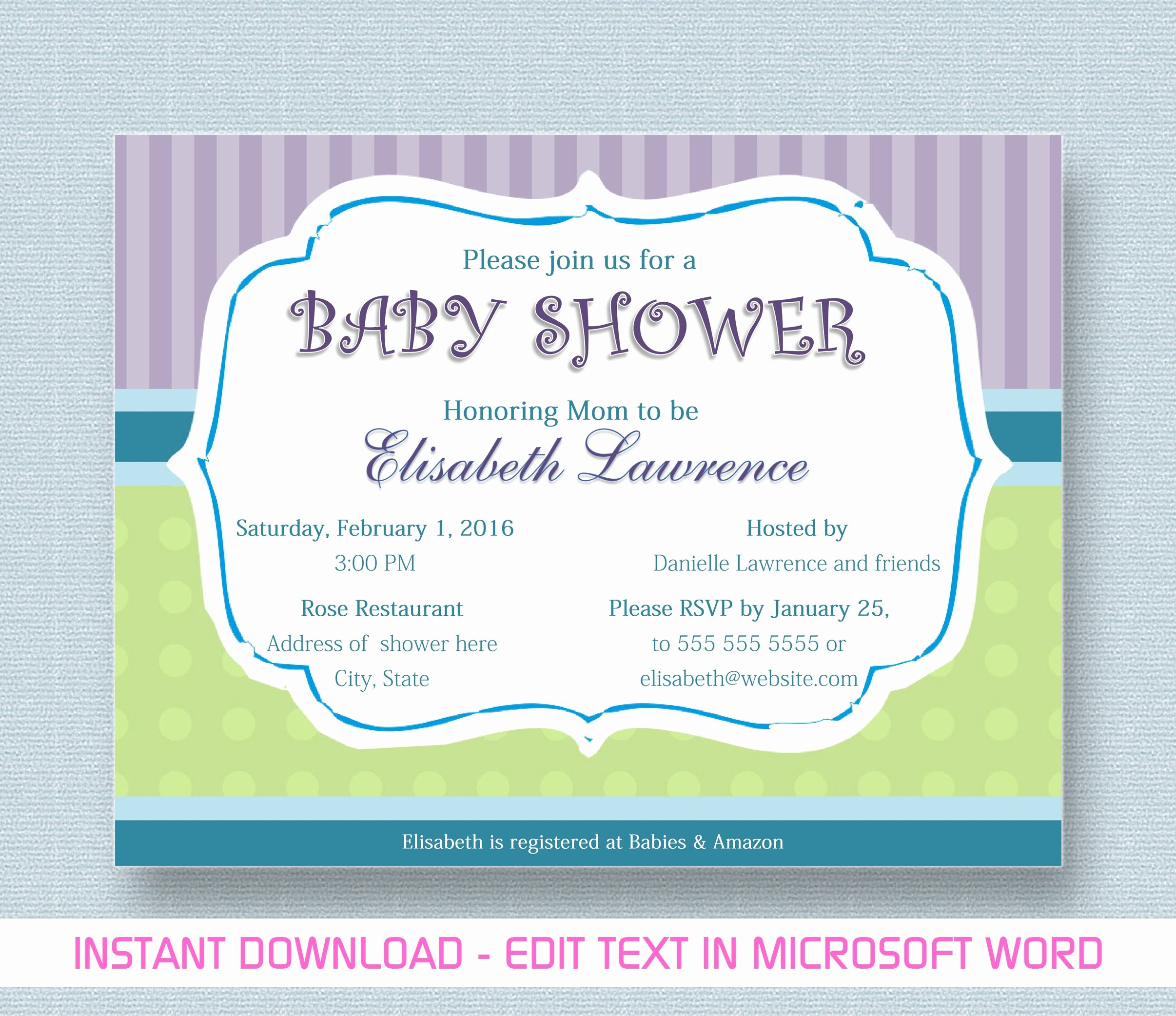 Word Template for Invitations New Baby Shower Invitation for Microsoft Word