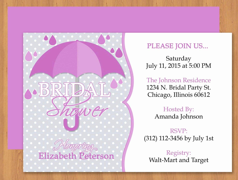 Word Template for Invitations New Purple Umbrella Bridal Shower Invitation Editable Template