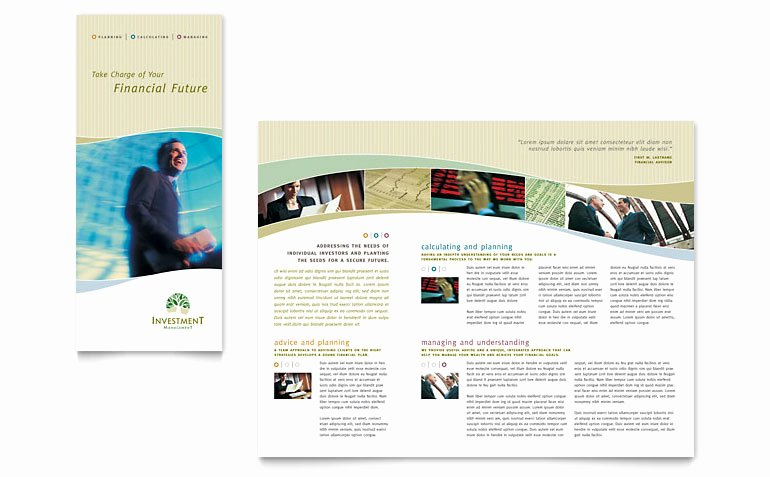 Word Trifold Brochure Template Best Of Investment Management Tri Fold Brochure Template Word
