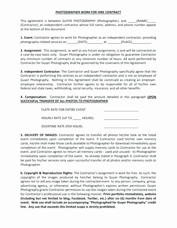 Work for Hire Template Unique Contract for Work to Be Performed Template Working