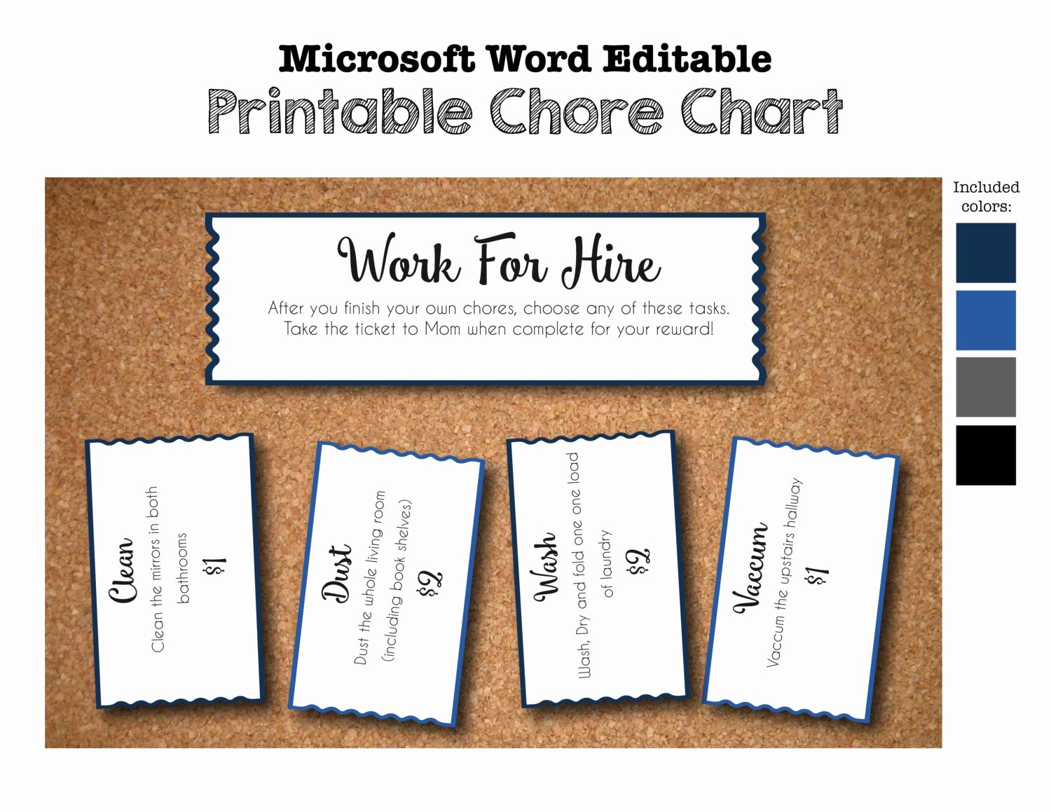 Work for Hire Template Unique Printable Chore Chart Work for Hire Tickets Coupons Voucher