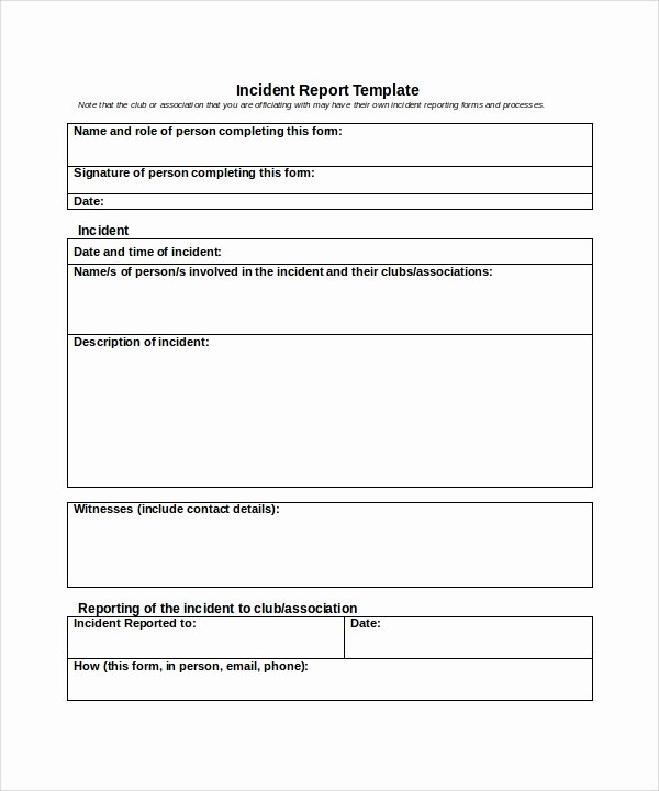 Work Incident Report Template Fresh 26 Sample Incident Report Templates