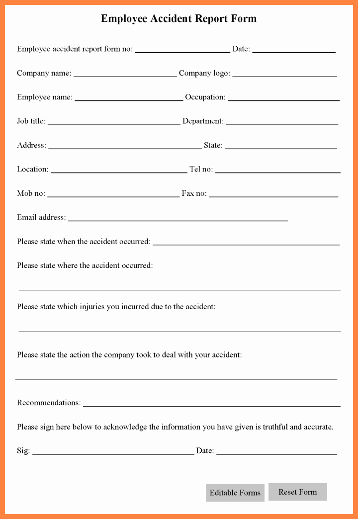 Work Incident Report Template Fresh 5 Workplace Accident Report form Template