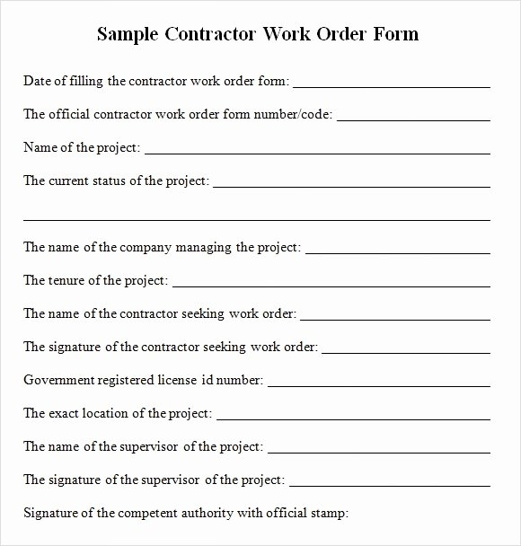 Work order form Template Awesome Sample Contractor Work order forms