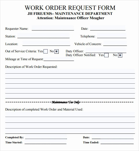 Work order form Template Elegant 14 Work order Samples – Pdf Word Excel Apple Pages