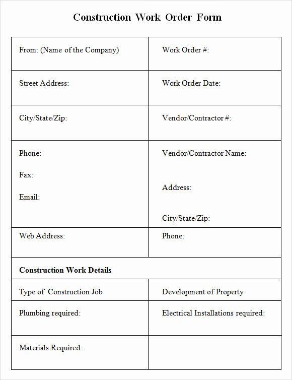 Work order form Template Elegant 6 Sample Construction Work order forms – Pdf