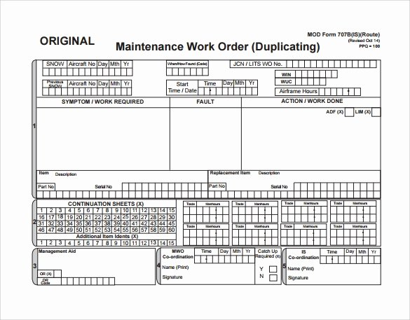 Work order form Template Unique 8 Sample Maintenance Work order forms