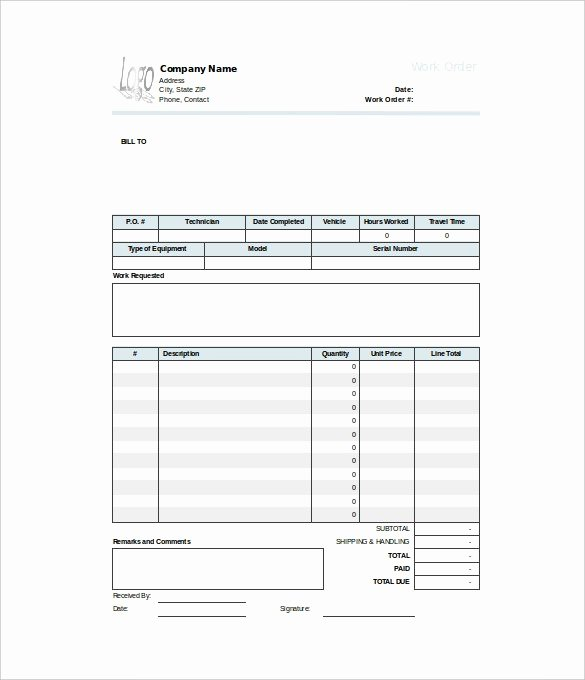 Work order Template Excel Awesome 40 Work order Template Free Download [word Excel Pdf]