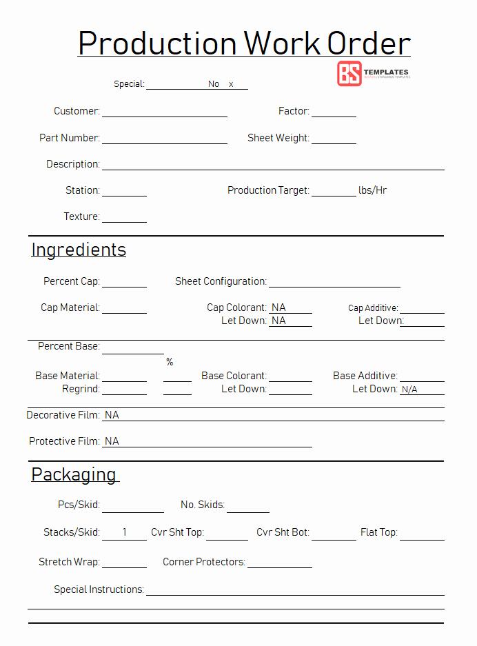 Work order Template Excel Fresh Work order
