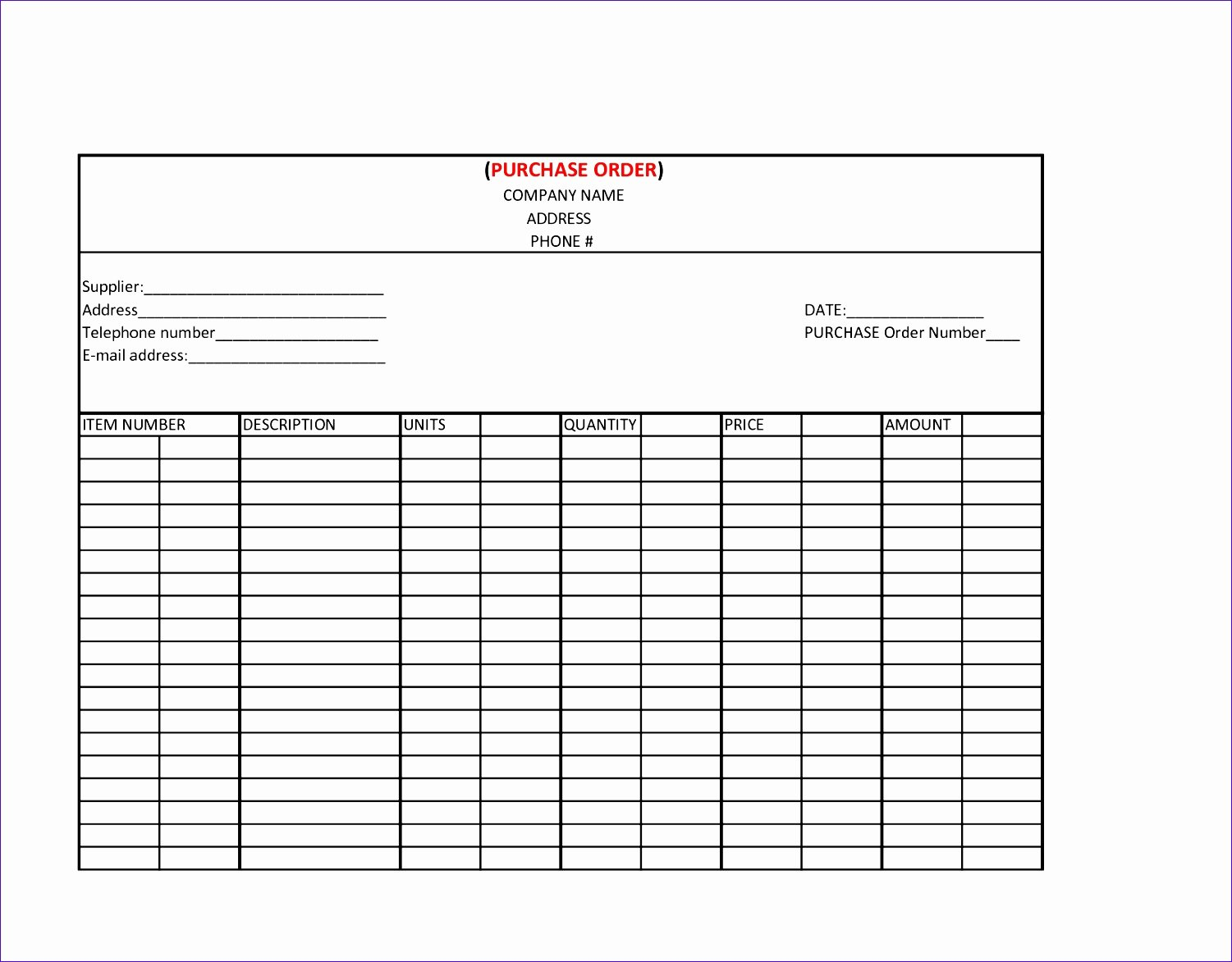 Work order Template Excel Unique 14 Purchase order Excel Template Exceltemplates