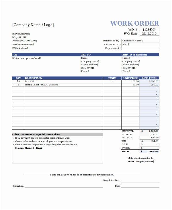 Work order Template Free Beautiful Excel Work order Template 13 Free Excel Document