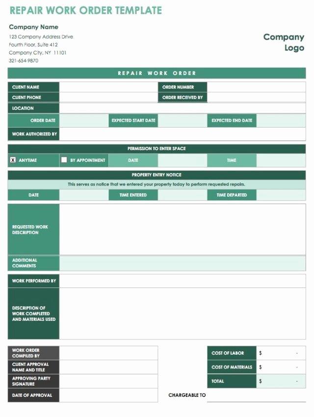 Work order Template Free Best Of 40 Work order Template Free Download [word Excel Pdf]