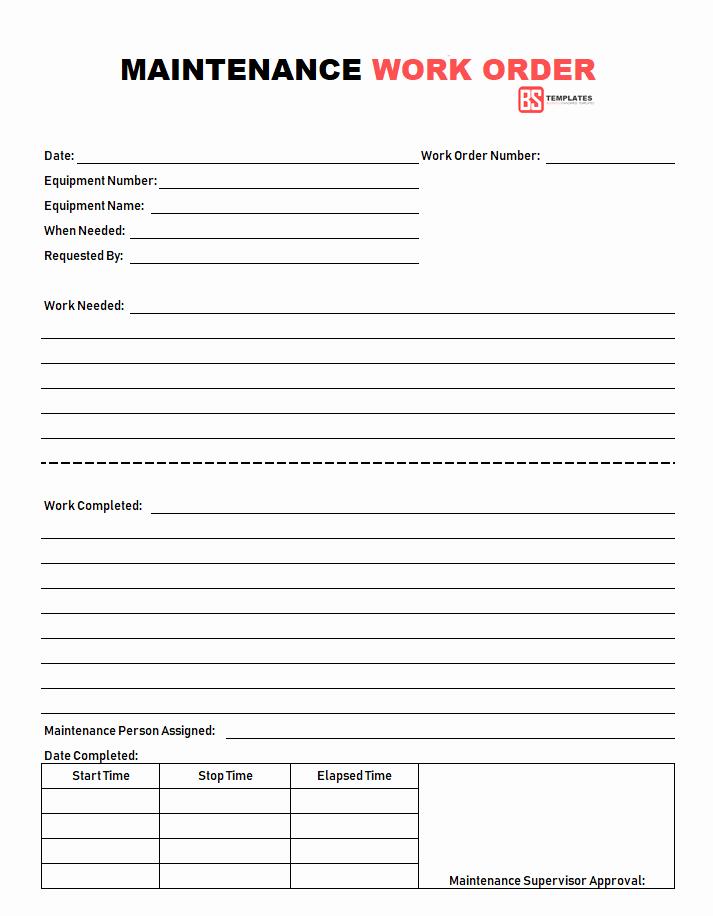 Work order Template Free Elegant Work order