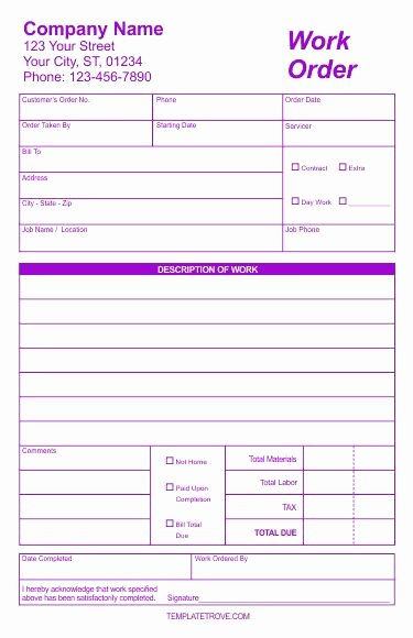 Work order Template Word Elegant Free Work order forms In Corel Draw Indesign Publisher