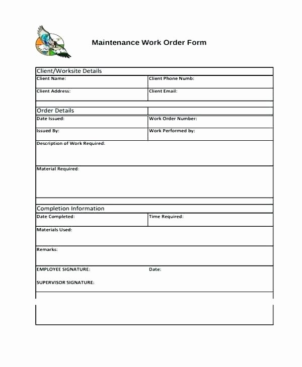 Work order Template Word Inspirational Job Pletion form Template Download Report Sample