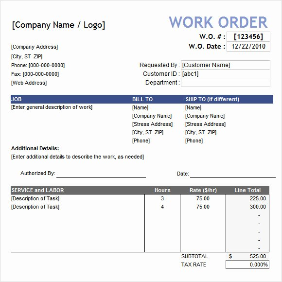 Work order Template Word Luxury Sample Work order 10 Documents In Word Excel Pdf