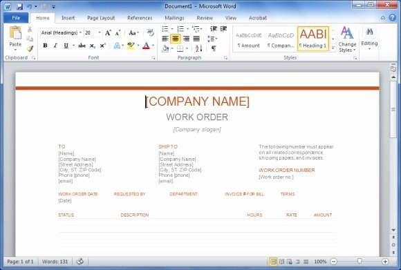 Work order Template Word New Free Work order Template for Word