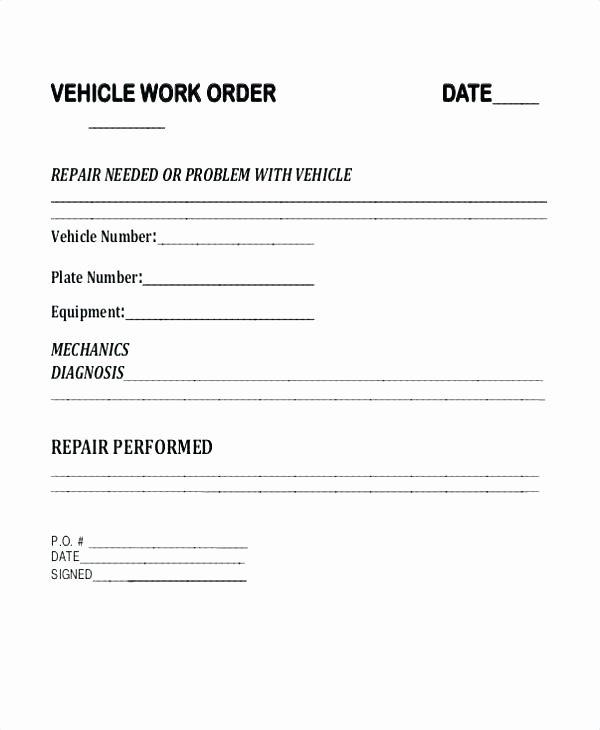 Work order Template Word Unique Vehicle Purchase order Template – Template Gbooks
