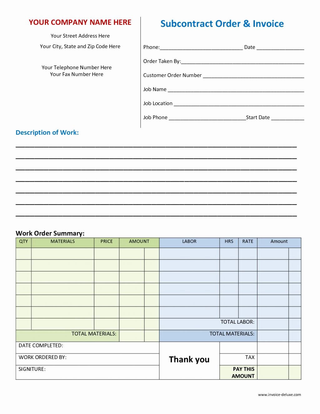 Work orders Template Free Awesome order Invoice Template