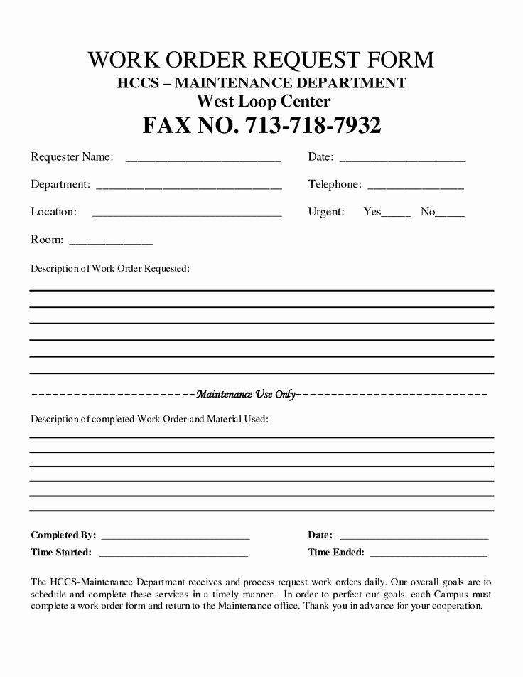 Work orders Template Free Luxury Free Customer Work order Request
