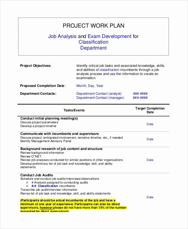 Work Plan Template Word Awesome 8 Sample Work Plans