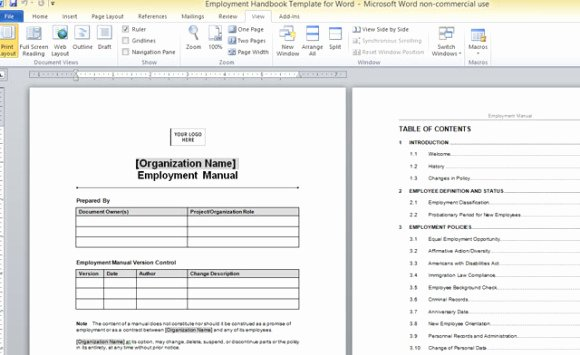 Workbook Template Microsoft Word New Employment Handbook Template for Word