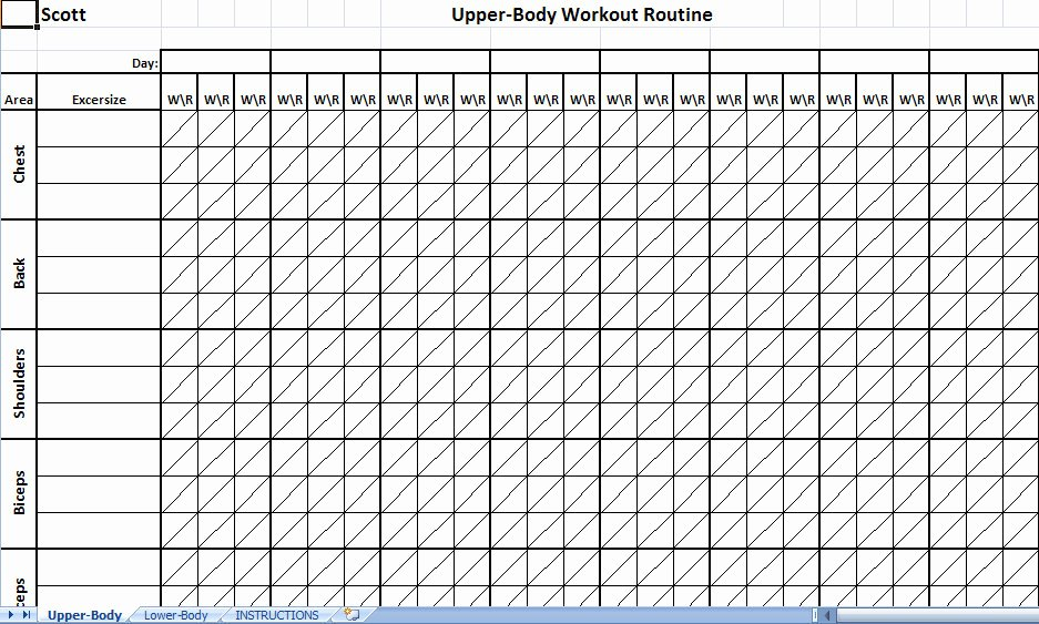 Workout Log Template Excel Awesome Printable Workout Log