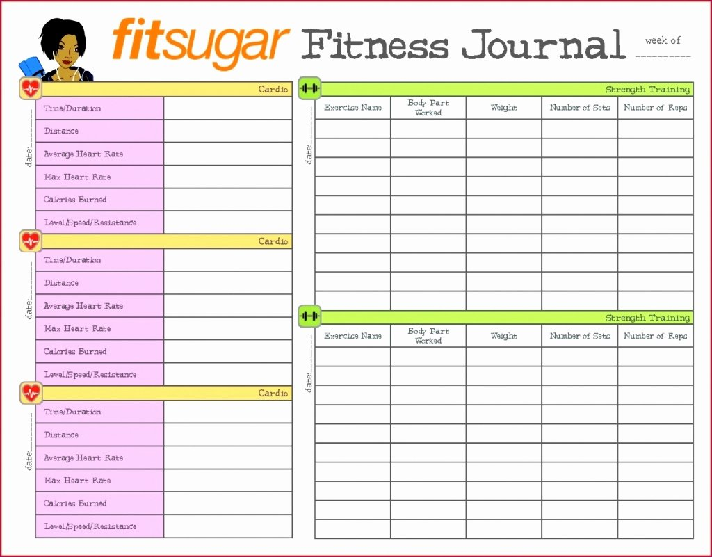 Workout Log Template Excel Elegant Diet Spreadsheet Template