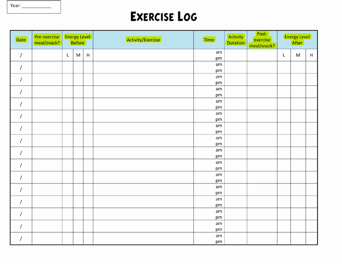 Workout Log Template Excel Fresh Exercise Log Template 8 Plus Training Sheets