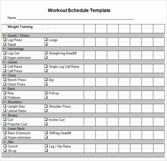 Workout Log Template Excel Luxury Workout Schedule Template 10 Free Word Excel Pdf