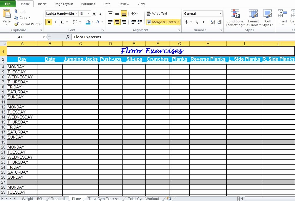 Workout Plan Template Excel Fresh Gym Workout Plan Spreadsheet for Excel Excel Tmp