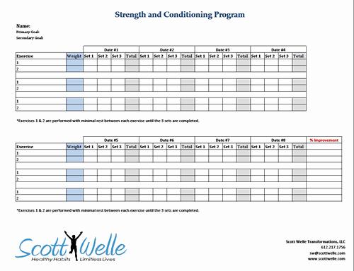 Workout Plan Template Excel Lovely Progressive Overload In Strength Training – Scott Welle