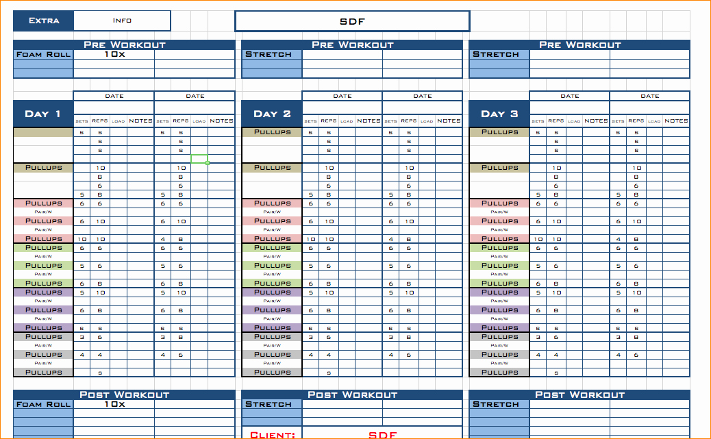 Workout Plan Template Excel New Free Excel Workout Template Workout Excel Template
