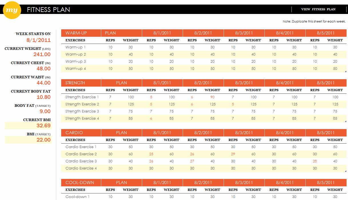 Workout Schedule Template Excel Beautiful Fitness Plan Excel Template