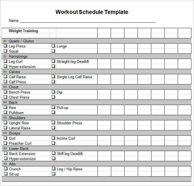 Workout Schedule Template Excel Beautiful Workout Schedule Template 27 Free Word Excel Pdf