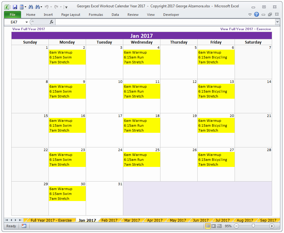 Workout Schedule Template Excel Inspirational Calendar Year 2017 Excel Fitness Calendar Template
