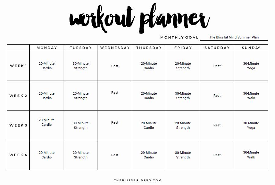Workout Schedule Template Excel Unique 9 Excel Workout Templates Excel Templates