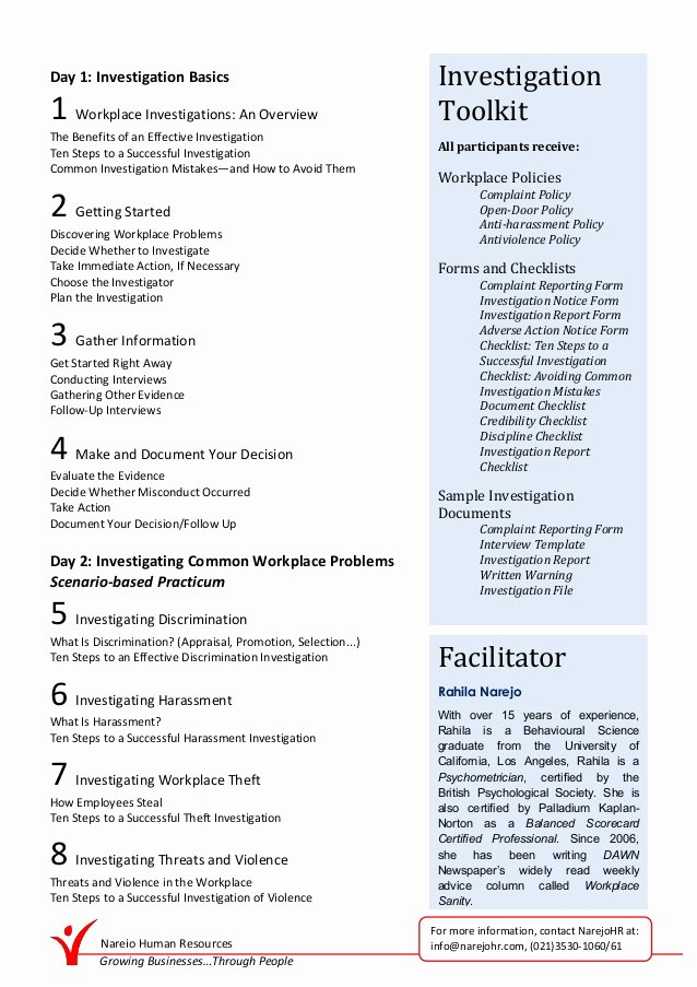 Workplace Investigation Report Template Lovely Conducting Effective Workplace Investigation Workshop