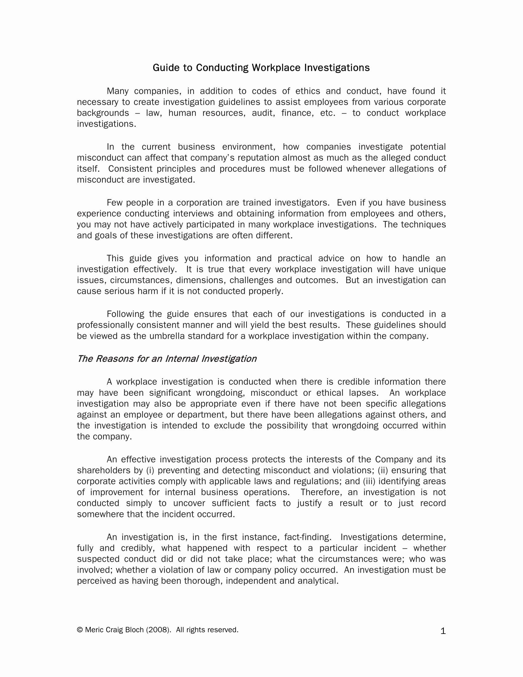 Workplace Investigation Report Template Unique 10 Workplace Investigation Report Examples Pdf