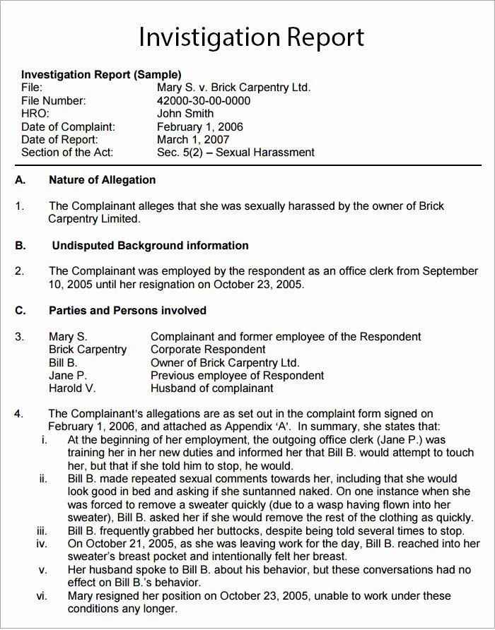 Workplace Investigation Report Template Unique Workplace Investigation Report Template 7 Free Pdf