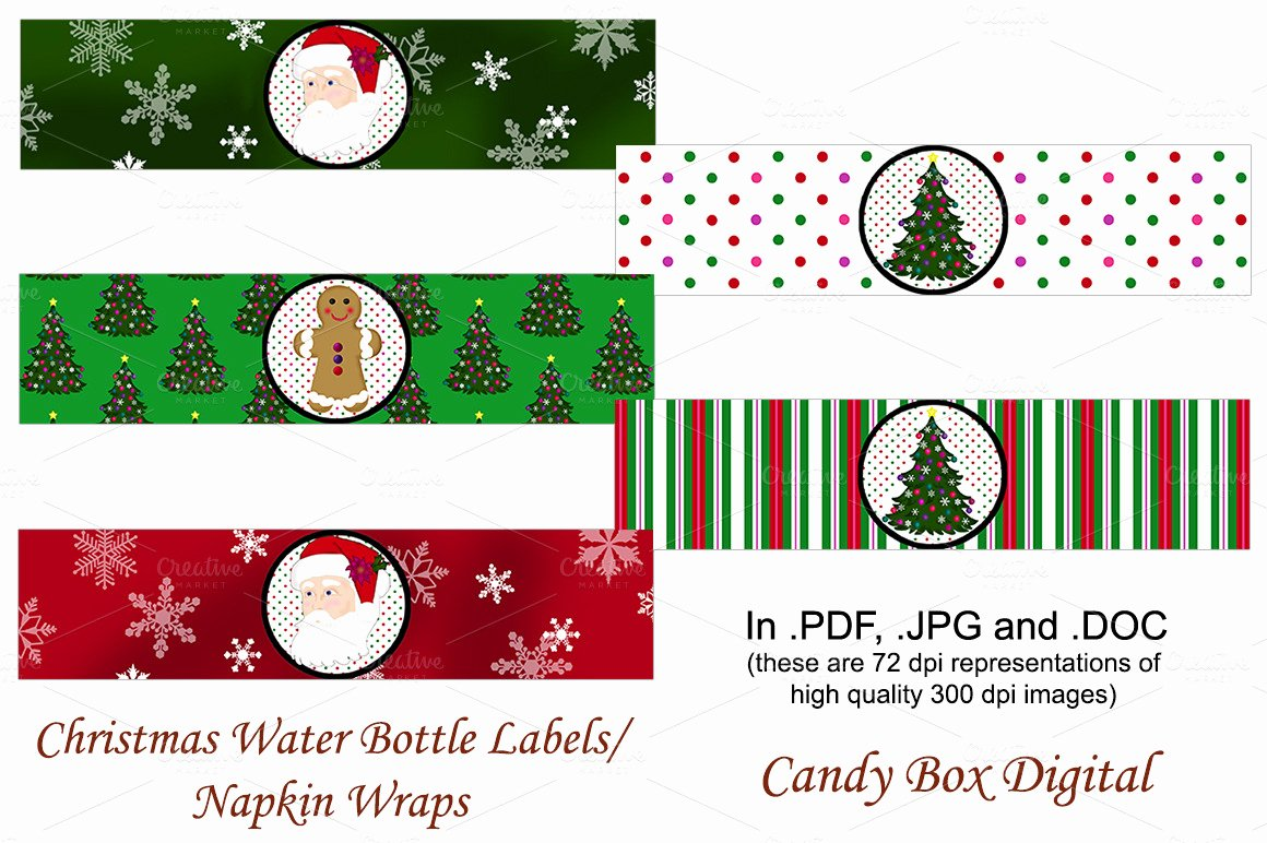 Wrap Around Label Template Fresh Christmas Water Labels Napkin Wraps Objects On Creative