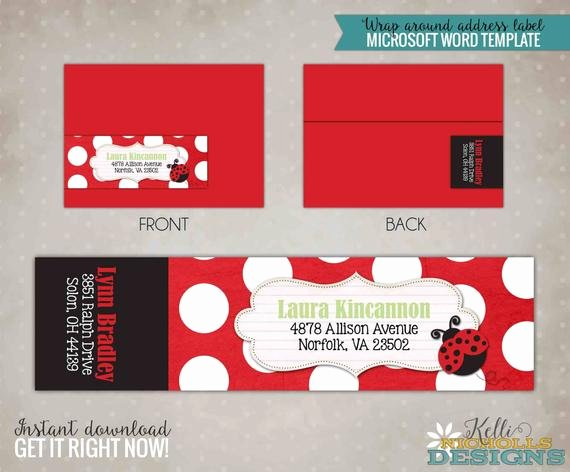 Wrap Around Label Template Fresh Ladybug Wrap Around Return Address Label Template Custom