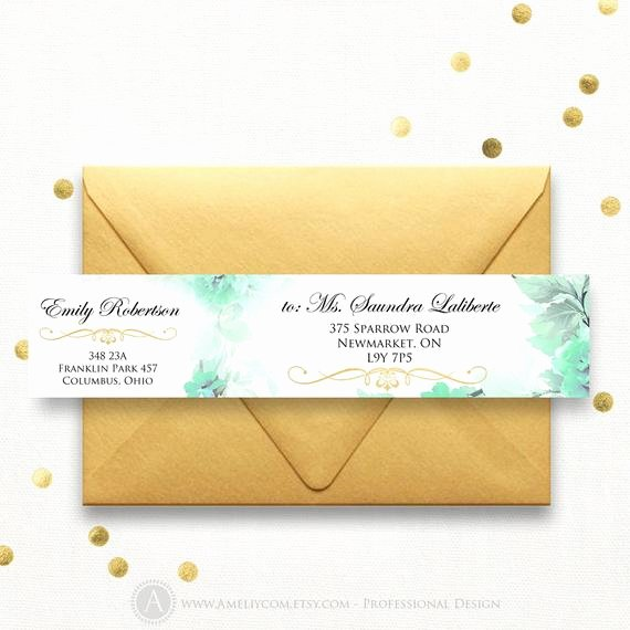 Wrap Around Label Template Lovely Printable Wrap Around Address Labels Gold & Mint Flowers