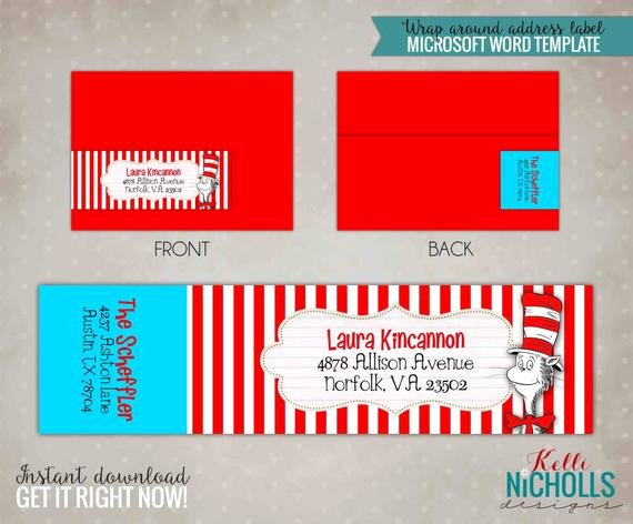 Wrap Around Label Template Unique Cat In the Hat Wrap Around Return Address Label Template