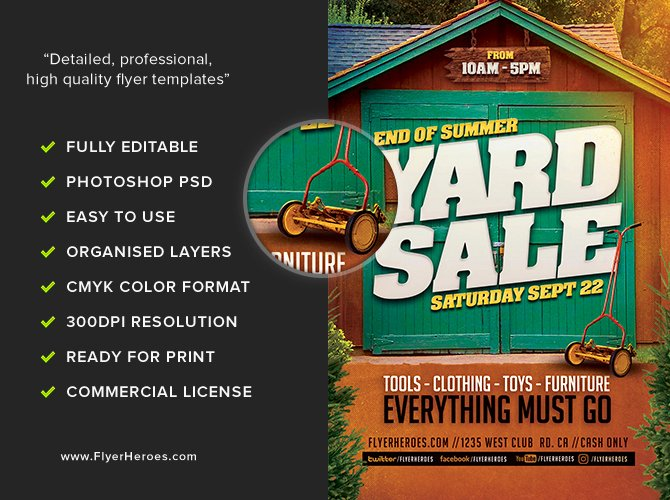 Yard Sale Flyer Template Luxury End Summer Yard Sale Flyer Template Flyerheroes