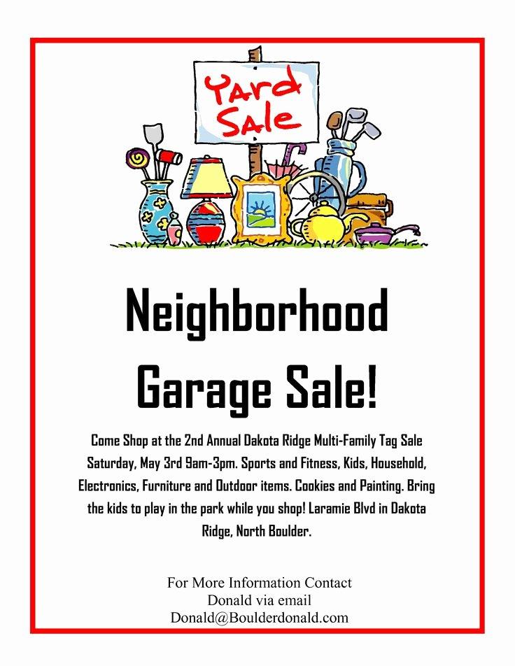 Yard Sale Flyer Template New Dakota Ridge Munity Garage Sale May 3rd 2014