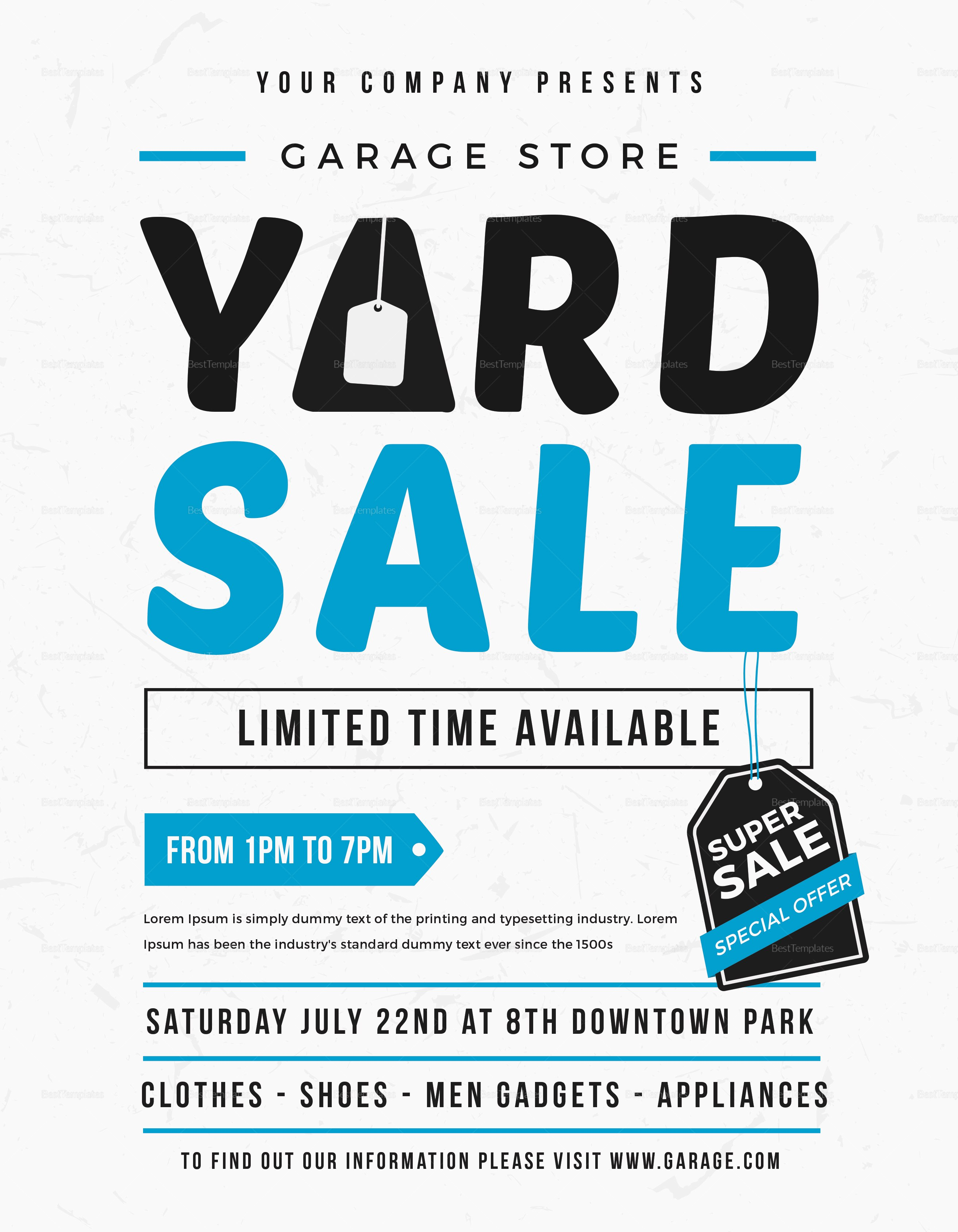 Yard Sale Flyer Template Unique Unique Yard Sale Flyer Design Template In Word Psd