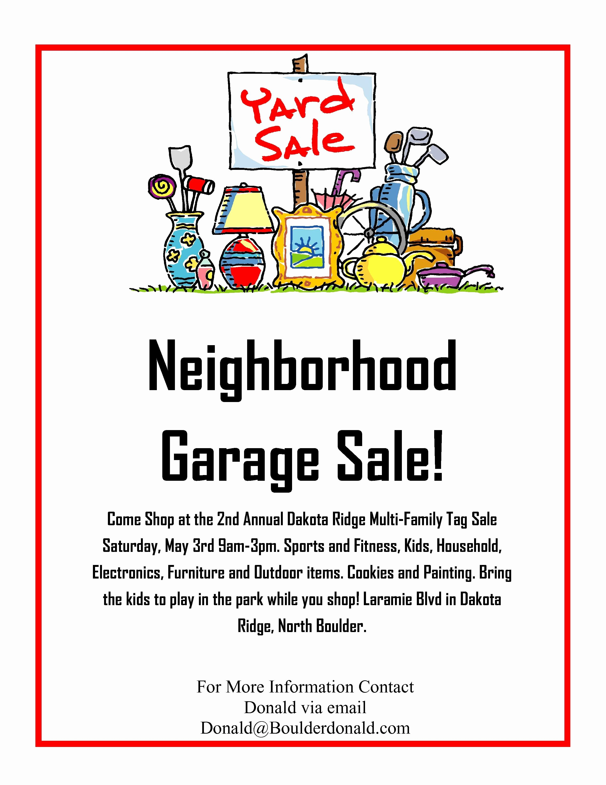 Yard Sale Sign Template Beautiful Dakota Ridge Munity Garage Sale May 3rd 2014