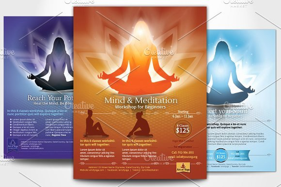 Yoga Flyer Template Free Awesome Simple Yoga Meditation Flyers Flyer Templates On