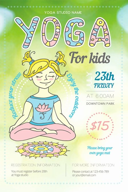 Yoga Flyer Template Free Awesome Yoga for Kids Flyer Template 1 Best Of Flyers